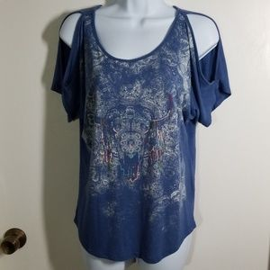Mudd Cold Shoulder Tee Medium Blue